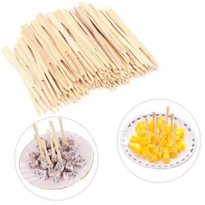 200 PCS bambou à usage unique fourchette de fruits Home Party Arts de la table Fournitures Articles de décoration Catering Forks Fruit bâton Finger Choisissez XD23237