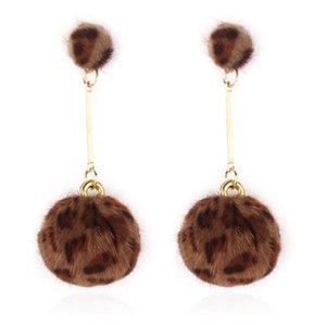 designer jewelry leopard print earrings balls pendant dangle earrings punk style for women free of shipping