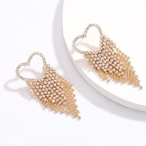 Exaggerated fashion crystal heart fringe earrings simple joker ladies hanging style earrings jewelry