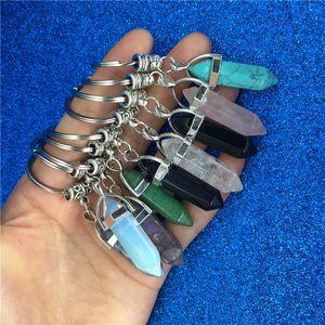 Chakra Altıgen Prizma Doğal Taş Anahtarlık Anahtarlık Çanta kilitleniyor Moda Takı Hediye Bırak Gemi 340041