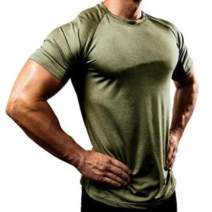 Homens camisetas Verão Esportes executando Top Tees Mens roupa de manga curta Casual secagem O Neck rápida aptidão camiseta Sportwear