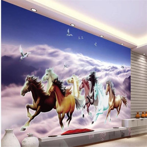 Custom any size photo modern wallpaper for living room blue blackout horse 3d wallpapers 3d nature wallpapers