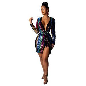 Gökkuşağı Dikey Çizgili Sequins Elbise Seksi Kadın Derin V Boyun Uzun Kollu Kulübü Parti Elbise Moda Kadın Kuşaklı Parti Vestidos NZK-1614