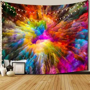 Yatak odası Duvar Sanatı Hippi Renkli Tie-boya Sac Bohemian Battaniye Gökkuşağı Ev Dekorasyonu Asma Tye-die Goblen Duvar