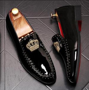 2019 neue Herren spitzen Mode Satz von Erbsen Schuhe koreanische Version der Zunahme der faulen Niet Schuhe Stil Trend wild einfach zu wählen K8