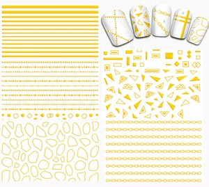 5 Fogli Linea Oro / Forma irregolare / Catena Nail art Stickers 3D Adesivi per unghie adesivi Decorazione unghie per unghie DIY Unghie Salono