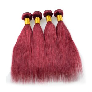 Mongolian Virgin Hair Straight 100% Remy human hair extension 99j cheap brazilian 4 pcs lot free shipping virgin Burgundy Hair Weaving