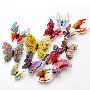 더블 레이어 3d 나비 벽 스티커 집 장식에 대 한 나비 장식 자석 냉장고 스티커