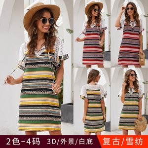 models in Europe and America stitching striped short-sleeved dress hollow women's spot