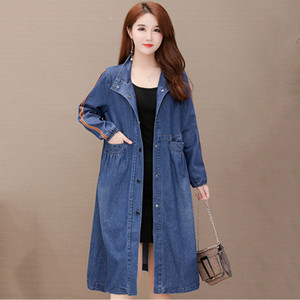 Denim Trench Coat Female Mid-length Spring Autumn Dress 2020 New Korean Loose Fashion Collar Large Size Coat L347