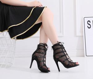 Réductions Salsa Jazz Ballroom chaussures de danse latine pour la danse Femmes Femmes Dances Noir Talon Découpes Mesh Bottes