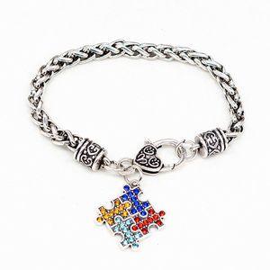 European and American popular jewelry autism puzzle bracelet fashion diamond bracelet Jigsaw