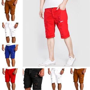 novo buraco de moda joelho lenngth sólida verão Jeans Mens Slim Fit Hetero Skinny Fit Denim Calças Calções Casual Calças