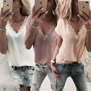 Sommer-beiläufige Art und Weise Frauen-Damen-T-Shirts Tops 3 Stil Short Sleeve V-Ausschnitt Lace Floral Fest Tops Größe S / M / L / XL