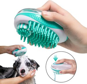 Pet ванна щетка для кошки собаки массажные щетки удаляет свободные волосы расческа pet душ скруббер 2 в 1shampoo диспенсер домашние животные груминг инструменты