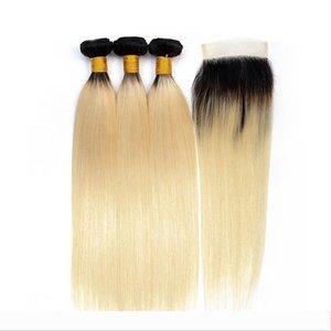 1b 613 Blonde Bundles With Closure Human Hair Brazilian Straight Hair 3 Bundles With Lace Closure Non-Remy