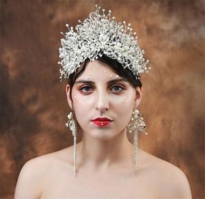 Pagón alto Crown Pearl Tiara Boda de novia de novia de novia Accesorios para el cabello Crystal Rhinestone Cabeza Princesa Reina Joyería Set Pendientes