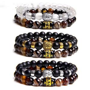 Новый религиозного черное стекло браслет сплава головы Будды с шесть слова правды полосового камнем браслет Шарм ювелирными изделиями для мужчин и женщин