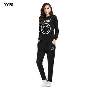 Autumn and Winter Womens Two-Piece Happy Smiley Face Printing Sports Suit European and American round Neck Sweater Pants Women