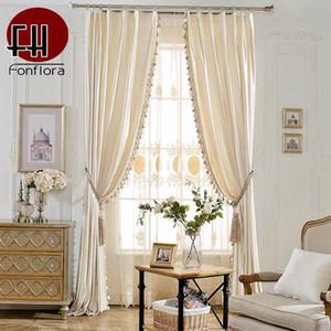 L'Europe velours rideaux pour Salon de luxe Rideaux Pour Chambre solide Italie velours tissu avec Pom-pom Pendentif doux rideaux