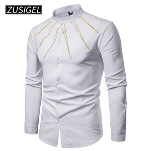 ZUSIGEL Men 's Shirts 슬림 피트 골든 라인 프린트 긴팔 버튼 다운 드레스 셔츠