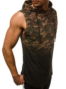 Spor Erkek Kas Kolsuz Tank Tops Kapüşonlu T-Shirt kamuflaj 3D dijital degrade baskı kapüşonlu kolsuz yelek T-shirt erkek