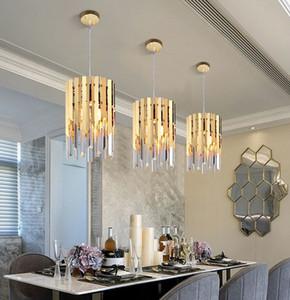 Petit cristal d'or ronde a conduit éclairage lustre moderne pour chambre salle à manger cuisine chevet lumière luxe k9 lampes pendentif MYY