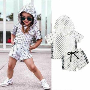 Kleinkind-Kind-Baby-Mädchen-Kleidung stellte Sommer-Kurzschluss-Hülsen-Wellen-Punkt-mit Kapuze T-Shirt Kurzschluss-Sunsuit-Kostüm-Kleidung ein
