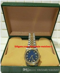 Christmas gift swiss Luxury watches Original box certificate mens watch Two-Tone 36mm Blue Diamond Dial Fluted Bezel Automatic mechanical