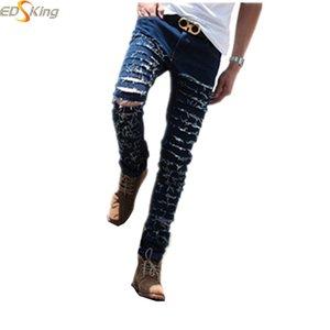 Ripped Skinny Denim Mens Biker Jeans Slimming Rock Style Pant Slim Skinny Distressed Pantalones Vaqueros Hombre