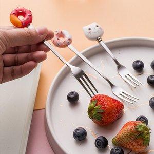 Acciaio inossidabile Donut Spoon fumetto dessert torta di Forks caffè Stir di tè gelato Cucchiaio Cucina Posate Donut Forks Spoon BH2790 TQQ