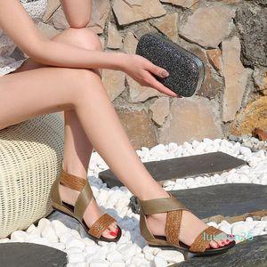 Plus Size Ladies Open Toe Sandals Fish Mouth Shoes Ethnic Style Sandals Women Boho Woven Wedge Heel Sandals Zippers Beach Shoes l26