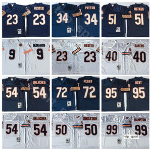 NCAA Football 99 Dan Hampton 51 Butkus 54 Brian Urlacher Jerseys 95 Richard Dent 72 William Perry Walter Payton Azul Branco Man Vintage