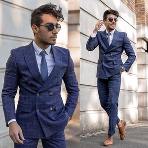 2020 Fashion Mens Groom Tuxedos Suits Plaid Double Breasted Wedding Men's Suits Peaked Lapel Fit Best Man Suit Custom Made Two Piece