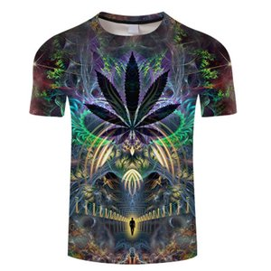 2020 T-shirt dos homens do estilo New Verão Espaço Galaxy Colorful Psychedelic Floral 3D Imprimir Women / Men T Shirt Hip Hop Tees Casual Tops Ypf628