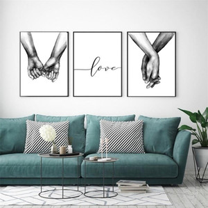 Nordic StyleBack White Sweet Wall Art Painting Canvas Painting Minimalist Print Love Quotes Painting Picture for Living Room Decor No Frame