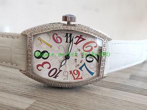 Luxus New 33mm verrückte Stunden 7851 8880 Automatische Gypsophila Diamond Dial / Gehäuse Frauen-Uhr-Lederband der Qualitäts-Frauen Uhren M02