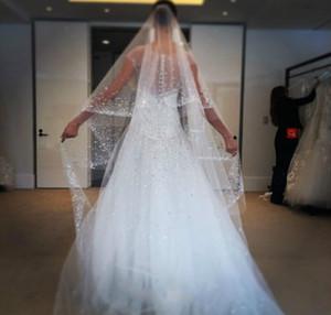 Bling sparkle véus de noiva strass beads 2 t 3 m branco marfim véu do casamento catedral comprimento custom made véu de noiva