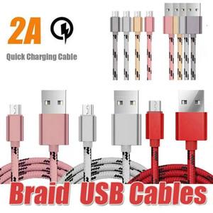 1M / 2M / 3M Micro USB TYPE de carga USB cable trenzado de nylon de alta velocidad del cable del cargador C 3 pies 6 pies 10 pies para el teléfono Android Samsung HUAWEI Mobile