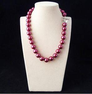 MS 12MM roxo moda shell colar de pérolas-FES whosale jóias genuínas