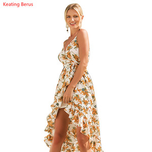 Keating Berus 2018 Женская Dress весна и лето Холтер печати праздник Dress Sexy V-образным вырезом прохладный повседневная