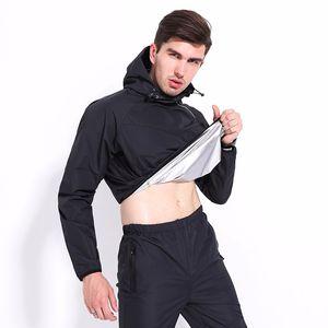 SANZKTN Sauna Terno homens da ginástica Suits Workout suor escorrendo Sets Queime calças Hoodie Fat Slimming Body Shaper manga comprida