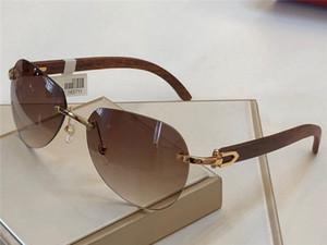 جديد مصمم الأزياء النظارات الشمسية 165711-2 فرملس الرجعية الساقين خشبية النظارات أعلى جودة الصيف حماية نمط uv400 عدسة