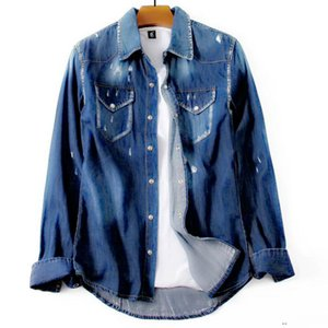 mens designer denim jacket jeans pierced bleach wash retro DSJ2 casual fit denim shirt Italy brand handsome man FashionableR6Z5