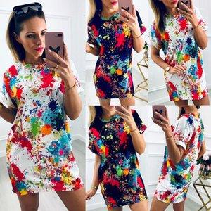 Bindung gefärbter Kleid-Sommer-beiläufige kurze Ärmel Baumwolle T-Shirt-Kleid-Frauen