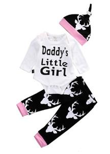 Vendita Neonate Abbigliamento Toddler Abbigliamento Set Bambini Pagliaccetto Suit Pigiama maniche lunghe 3pcs Daddy's Little Girl Pagliaccetti stampati Legging Pants
