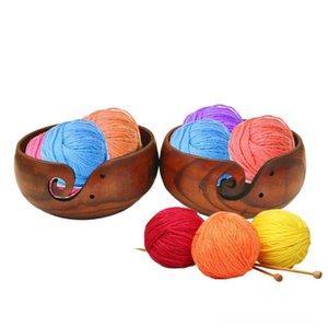 Ecológico de madera Hilados de mano Herramientas Tazón Organizador de punto de ganchillo de lana hecho a mano cuenco de almacenamiento fuentes de costura de almacenamiento