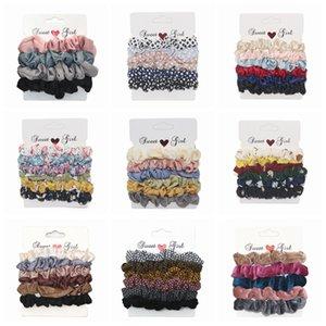 6pcs set Velvet Scrunchies Elastic Hair Bands Flower Ribbon Laser Ponytail Holder Hairbands Girls Women Hair Accessories HHA1121