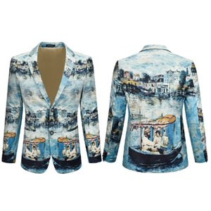 Traje chaqueta de los hombres del estilo chino de alta calidad de la tinta pintura de la manera impresa terciopelo Tela Blazer Actor Cantante DJ etapa del vestido Superstar