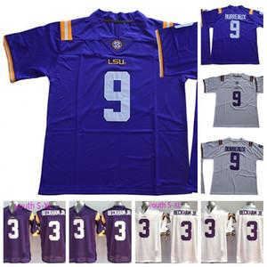Mens Youth Lsu Tigers 9 Joe Burrow Burreaux 3 Odell Beckeam Jr. Белый фиолетовый NCAA колледж футбол Джерси двойное сшитое имя и номер